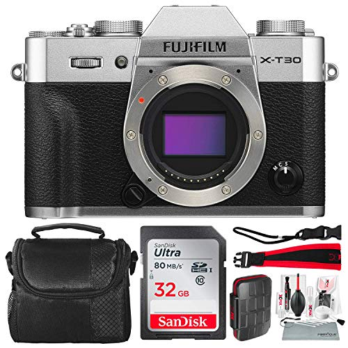 Fujifilm X-T30 4K Wi-Fi Mirrorless Digital Camera (Body Only) - Silver with 32GB Bundle and Travel Photo Cleaning Kit