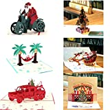 Paper Spiritz 6PCs Christmas cards, Hamdemade Greeting Card, Holiday Xmas Winter New Year Pop Up Set Card