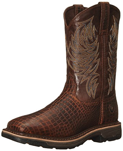 Ariat Men's Workhog Wide Square Toe Work Boot, Brown Crocodile Print/Dark Chocolate, 11 D US