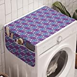 Ambesonne Abstract Washing Machine Organizer, Trippy Vibrant Colors Optical Illusion Print, Anti-slip Fabric Cover for Washers and Dryers, 47' x 18.5', Sky Blue Blue Violet