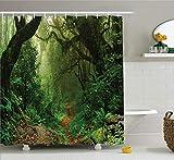 vrupi Cortina Ducha la Selva Tropical Nepal Bosque Turismo Senderismo Rama Niebla Carretera Aire Fresco Tema Exterior patrón Tela baño decoración poliéster Impermeable 180 * 180 cm