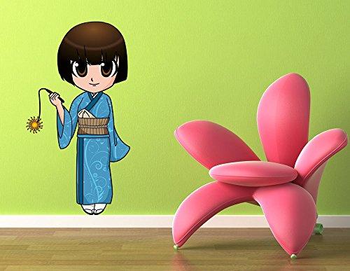 wandmotiv24 Graz Design nr.761 en Kimono pour Fille Taille : 40 x 75 cm-décoration Murale Sticker Autocollant Anime Manga Mural Motif Japonais