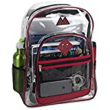 Clear Backpack with Water Bottle Holder, Stadium Approved for Men, Women, Kids
