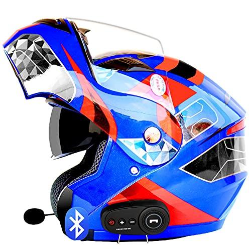 Bluetooth Casco Abatible Delantero Ligero, para Motocicleta,Doble Visera, Cascos Integrales,Aprobado por ECE Respuesta Automática Manos Libres I,XL=61~62cm