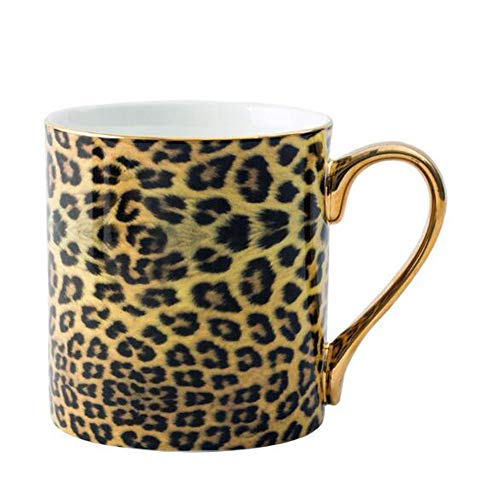YBK Tech Novelty Coffee Mug Bone China Porcelain Tea Cup Coffee Mug for Home Kitchen Office (Leopard print)