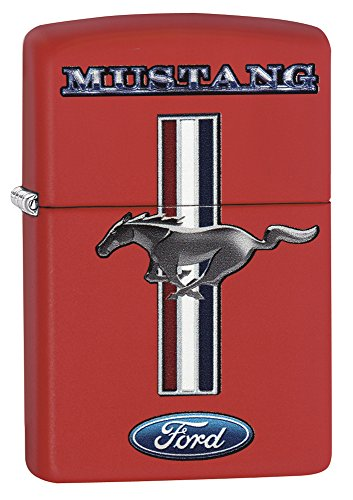Zippo Ford Mustang Lighter, Metal, Red, One Size