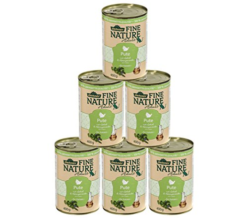 Dehner Fine Nature Katzenfutter Adult, Lebensmittelqualität, Pute, 6 x 400 g (2,4 kg)