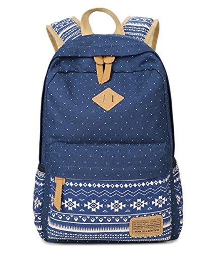 HITOP Vintage Mode Damen Leinwand Tupfen Geometrische Muster Schultertasche Freizeitrucksack Tasche Rucksäcke (Navy)