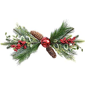T-REASURE Artificial Red Holly Berries Swag, Christmas Wall Hanging Decor Pine Cone Holly Leaves Bell Poinsettia Flower Ornament for Winter Xmas Holiday New Year Wedding Front Door Decor