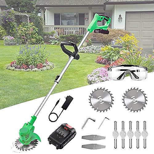 Débroussailleuse de jardin Tondeuse à gazon sans fil avec batterie et chargeur Débroussailleuse télescopique Outil de coupe-bordure électrique 3-en-1 léger, trois types de lames...