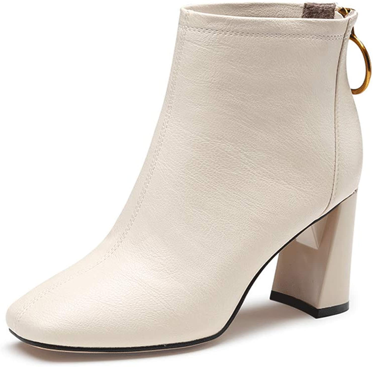 MKOP Women's Fashion Ankle Boots - Chunky High Heel