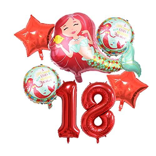 XIAOZSM Globos Globos de lámina de sirpea púrpura roja con número de dígitos de 40 Pulgadas Helio Globo Dibujos Animados Globos Decoraciones de Fiesta de cumpleaños niños o Adultos ( Farbe : Red 18 )