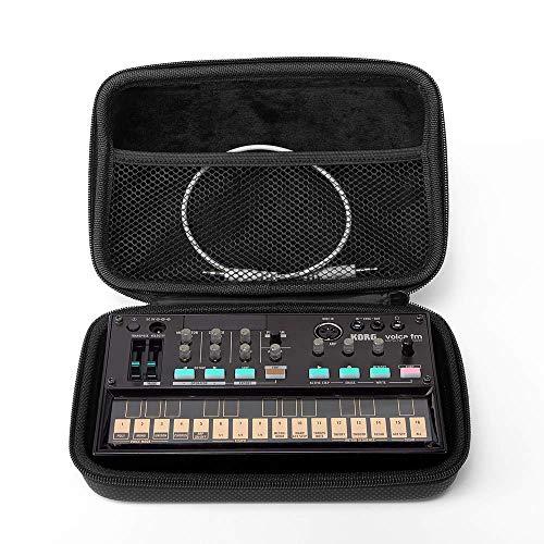 Analog Cases GLIDE Case für Korg Volca Series oder vergleichbare Synthesizer (Transporttasche gefertigt aus wasserdichtem Kunstleder, mit robustem Gummitragegriff), Schwarz