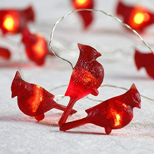 Impress Life Christmas Cardinal Decorative String Lights, 3D Red Bird Themed Battery Operated 10 ft 20 LEDs with Remote for DIY Home New Year Party, Holiday Wedding, Bedroom, House Decoration