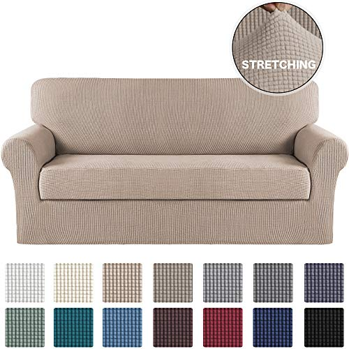 Turquoize Stretch Sofa Slipcover 2 Piece Sofa Cover with Separate Cushion Cover Couch Cover for 4 Cushion Extra Large Furniture Protector with Elastic Bottom High Spandex Washable (X-Large, Sand)