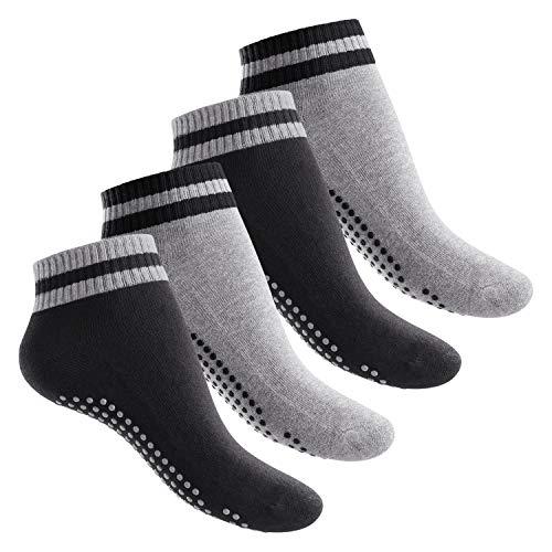 Celodoro Damen und Herren Yoga & Wellness Socken (4 Paar), ABS Söckchen mit Frottee-Sohle - Variante 2 39-42