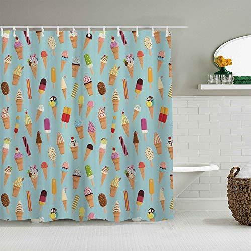 YiiHaanBuy Personalisierter Duschvorhang,Eismischung lecker mit Schokoladen- & Fruchtgeschmack Toppings in Cones Illustration Multicolor,wasserabweisender Badvorhang für das Badezimmer 180 x 180cm