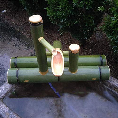 Bambus-Wasserbrunnen mit Wasserpumpe Wasserspiel Auslauf Indoor Outdoor Fließende Zen-Gartendekoration, Länge 40 cm