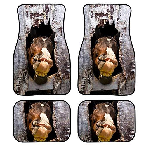 TaiWang Impresión de Caballos Impermeable Ajuste Universal Ajuste Coche Colinas, Ajuste para SUV, Vans, Sedanes, Camiones, Cojín de pie de Tigre Creativo de Cuatro Piezas,Gh4