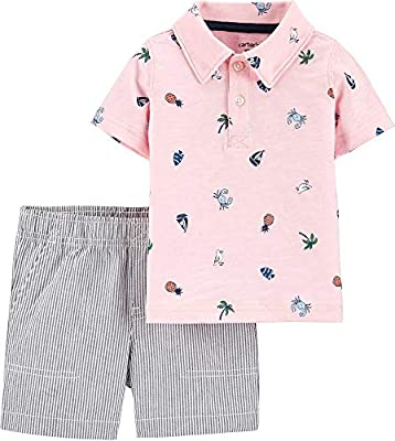 Carter's Baby Boys Tropical Polo & Striped Short Set 24 Months Pink Multi