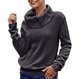 KEERADS Femme Chandail Pull, Automne Hiver Mode Élégant Couleur Unie Col Haut Manche Longue Sweater Blouse Chic en Vrac Jumper Tricots Pull Tops Pullover pour Printemps (XL,Noir)