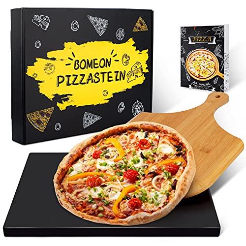 BOMEON Pizzastein für Backofen und Gasgrill (Cordierit glasiert Antihaft), 38 x 30 cm rechteckiger Pizzastein Set mit Bambus – Pizzaschieber Pizzastein für knusprigen Pizza wie vom Italiener