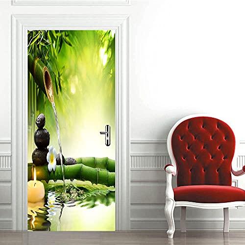 3D Puerta Engomada del Arte Mural de la Moderno,Verde, bambú, ríoEtiqueta de Puerta Autoadhesiva Extraíble Impermeable dormitorio decoración del hogar 77x200cm