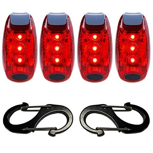 iaimee LED-Rücklicht (4 Stück), helles Fahrrad-Rücklicht, Sicherheitslicht, 3 Licht-Modi, mit Klettverschluss-Bändern für Jogger, Haustiere, Laufen, Radfahren, Helm, Stroboskoplicht