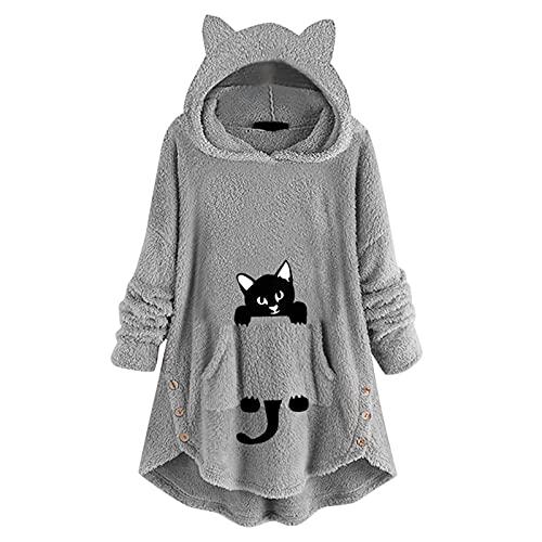 Hooded Blanket Top Lounge Fleece Sherpa Original Blankets Sweatshirt Hoodie Warm Soft Cozy Fits All Men Women Girls Boys (I-Gray, S)