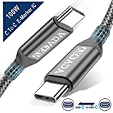 AkoaDa USB-C to USB-C 100W Cable 10ft, USB C Braided Fast Charging Cable Compatible with MacBook Pro 2020/2019/2018, iPad Pro 2020/2019/2018, Samsung Galaxy S20,Pixelbook and Type-C Laptops (Grey)