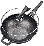 Wok Antiadherente Skillet La olla de aluminio de la olla de piedra gris oscuro de la olla de piedra se usa para la cocina de gas y cocina de inducción general de utensilios de cocina no petróleo sin