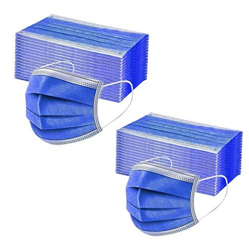 Danmeifu 50/100 Piezas Mujeres Hombres Protección 3 Capas Transpirables con Elástico para Los Oídos Para Ciclismo Cámping, Adulto Protección, 𝐌𝐚𝐬𝐜𝐚𝐫𝐢𝐥𝐥𝐚𝐬 (Adulto_100PC, Azul)
