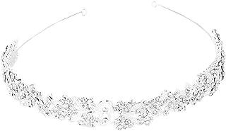 WINOMO - Tiara para novias con pasadores y cristales decorativos (plateada)