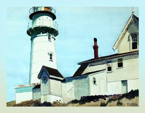 Acrylglasbild Edward Hopper - Light at two Lights - 90 x 70cm - Premiumqualität - American Scene, Realismus, Gebäude und Architektur, Leuchtturm, Meer, Panorama, Häuser, .. - MADE IN GERMANY - ART-GALERIE-SHOPde