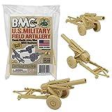 BMC Classic Marx Military HOWITZERS - Tan 3pc Plastic Army Men Field Artillery