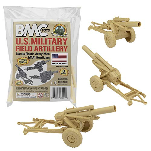 BMC Classic Marx Military HOWITZERS - Tan 3pc Plastic Army Men Field Artillery
