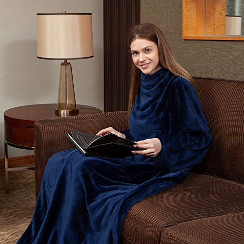 """Viviland Fleece Wearable Blanket with Sleeves & Foot Pocket for Adult Women Men, Plush Throw with Adjustable Hook & Loop for Lounge Couch Reading Watching TV 73"""" x 51"""" Navy"""