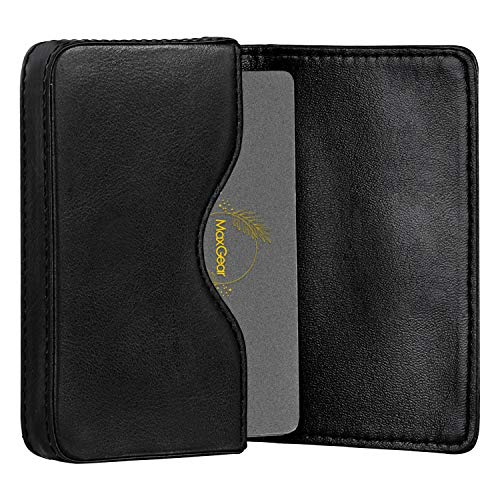 MaxGear Leather Business Card Holder Pocket Business Card Case RFID-Blocking Business Cards Carrier with Magnetic Shut for Men and Women, Professional, Burnished Genuine Leather, 25 Cards, Black