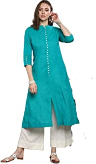 Women Blue Solid Color A-Line Straight Tunic Kurta Tops Long Dress Kurti for Girl - 12