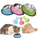 Veraing Katzennapf, 3 Stück Futternapf Katze Edelstahl Nicht Verschüttet und rutschfeste Fressnapf für Katze Welpe Hamster Kaninchen Kleine Tiere
