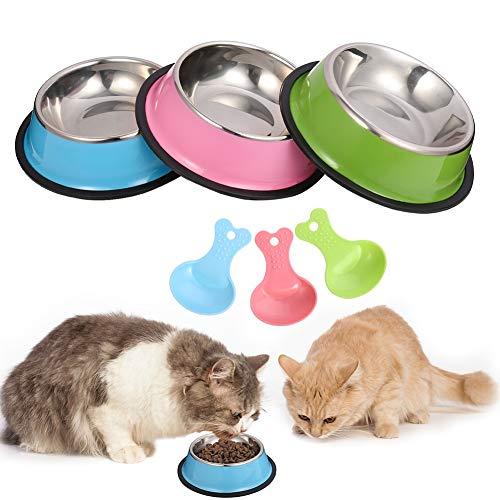 Veraing - Ciotola per gatti, 3 pezzi, in acciaio inox, non versa e antiscivolo, per gatti, cuccioli, criceti, conigli, piccoli animali