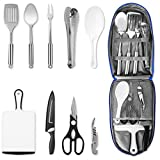 NEXGADGET Camping Kitchen Utensil Set, Portable 9-Piece Stainless Steel Outdoor Cooking and Grilling...