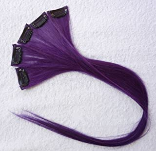 18 Inch High light PURPLE Clip in Human Hair Extensions Straight Violet Clip on Highlights Hair Extensions 6 Pieces/set (Purple)