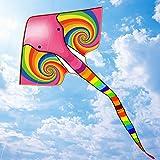 Cometa enorme para niños y adultos, fácil de volar juegos de playa al aire libre, bolsa de regalo con asa y cuerda – fácil de montar y transportar