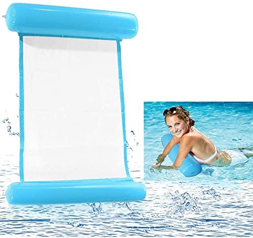 Kaishuai Hamaca Flotante,4 En 1Hamaca Inflable Tumbona Plegable Colchoneta Hinchable Flotador Piscina Playa para Adultos Tumbonas Hamaca de Agua (Azul claro )