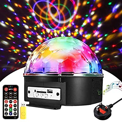 Disco Lights SOLMORE LED Disco Ball 18x18x15CM 18W Party Stage Lights | Music Player | 9 Colors | Music Activated | SD Card/U Disk Support, Strobe Light with Remote Control for Christmas Party Bar