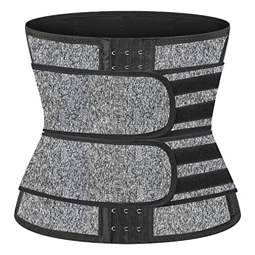 NANOOER Neoprene Sauna Waist Trainer Corset Sweat Belt for Women Weight Loss Compression Trimmer Workout Fitness (Grey Two Belt, XX-Large)