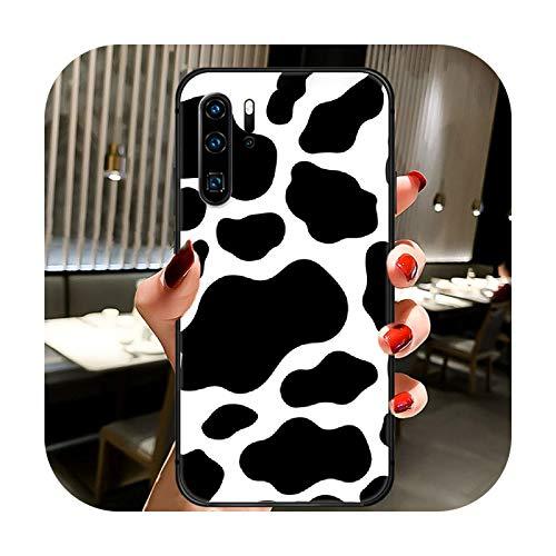 Patrón de vaca colorido teléfono caso cubierta casco para Huawei P8 P9 P10 P20 P30 P40 Lite Pro Plus Smart Z 2019 negro parachoques Soft-1-P10