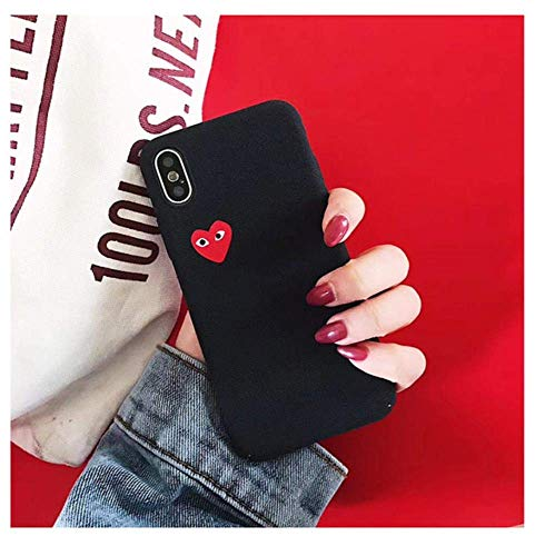 Qinddoo Luxury Brand CDG Play Comme Des Garcons Love Heart Matte Case Phone Cover For iPhone 6 s 7 8 Plus X XR XS MAX 10 Hard Case-Black,For iPhone X