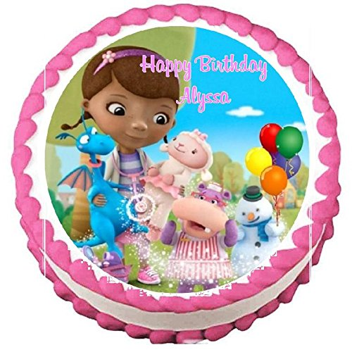 """Doc McStuffins #1 Edible Frosting Sheet Cake Topper - 7.5"""" Round"""